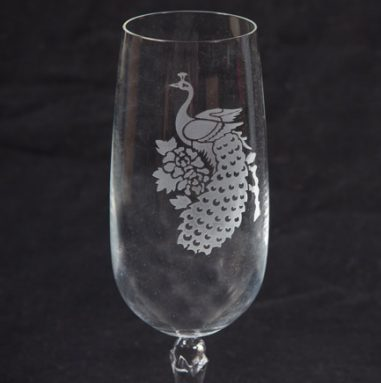 Peacock Etched into Wine Glass