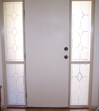 Glazed Front Door with Etched Diamond Design